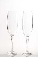 Two flutes isolated on white background