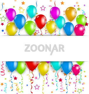 Colourful party balloons, confetti with space for text