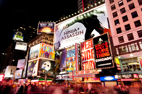 Broadway at Times Square by Night