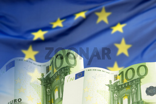 Europäische Flagge mit Euro Geldscheinen