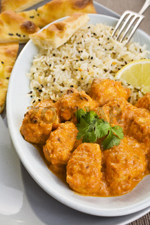 Chicken Tikka Masala with Rice and Naan