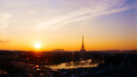 Out of focus view of Paris and the Eiffel Tower, France