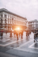 traveling people in motion blur