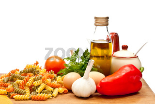 Ingredients and spaghetti