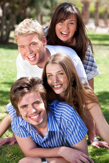 group of Young couples enjoying
