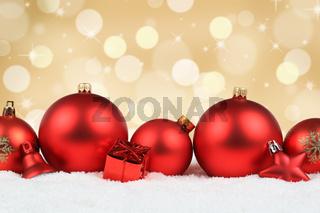 Weihnachten rot Weihnachtskugeln Gold Hintergrund Dekoration Winter Schnee Textfreiraum