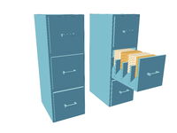 Two dressers with drawers and documents in blue