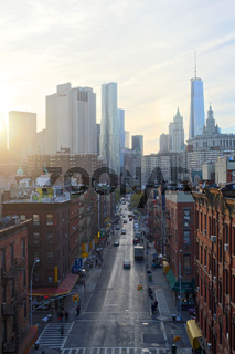 Sunset over the Lower East Side of Manhattan