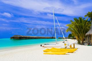 Yacht on tropical beach