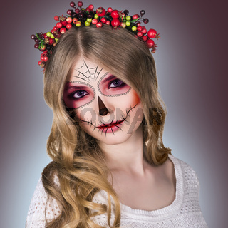 Woman in day of the dead mask