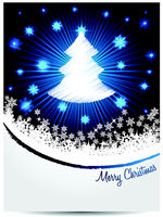 Blue white christmas greeting with bursting scribbled christmastree