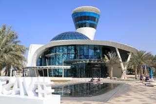 Abu Dhabi, Gebäude beim Yas Marina an der Formel 1 Rennstrecke