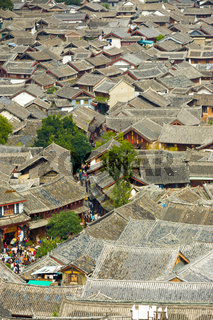 Lijiang Old Town Tiled Rooftops High Angle View