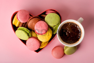 Macarons with coffee
