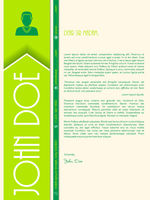 Modern cover letter with big letters for name