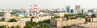 Moscow panoramic view from above, avenues, residential area, power plant