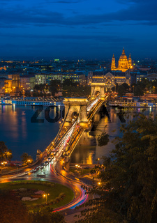 Panoramic view of Budapest, Hungary, with the Chain Bridge