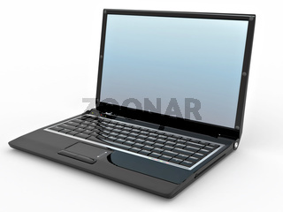 Opened laptop on white isolated background. 3d