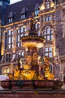 Jubilee fountain in front of the town hall in Wuppertal-Elberfeld near Nacht. Germany