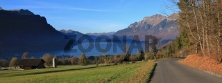 Lake Brienzersee and mount Augstmatthorn. View from Brienz, Switzerland.