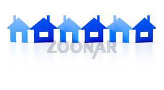a paper cutout row of blue houses background
