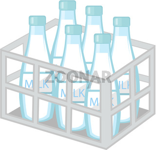 Milk in iron box icon flat style. Isolated on white background. Vector illustration.