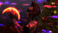Woman Elf with Christmas tree over space background