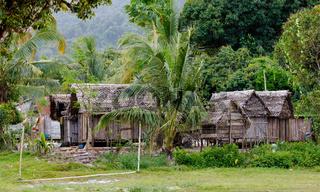 Africa malagasy huts in Maroantsetra region, Madagascar