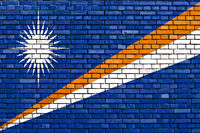 flag of Marshall Islands painted on brick wall