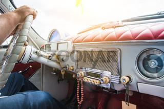 retro car dashboard