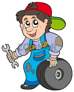 Car mechanic on white background - isolated illustration.