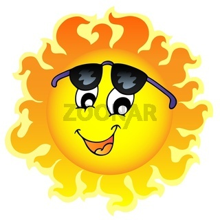 Cute funny Sun with sunglasses - color illustration.