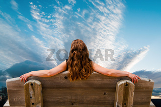 woman relaxing at the sea
