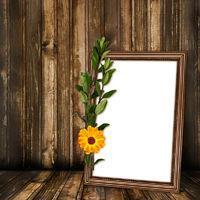 Grunge room for design with old frame