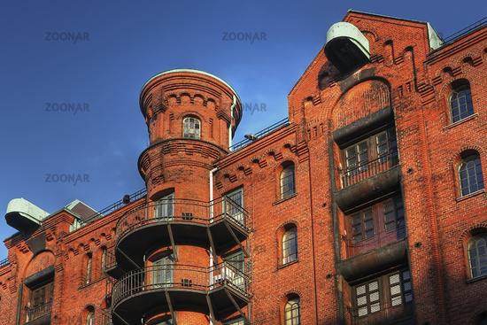 Speicherstadt im Hamburger Hafen, Deutschland, Old Store Houses in a quarter named store-city at Hamburg Harbour, Germany