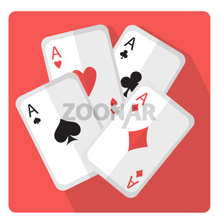 Playing cards with aces icon flat style with long shadows, isolated on white background. Vector illustration