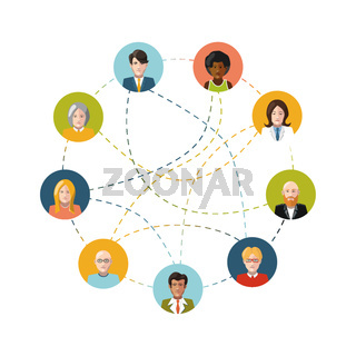 Social network with flat people on white