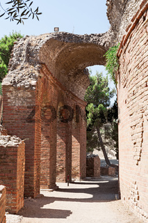 Arch of the ancient greek theater in Taormina, Sicily, Italy