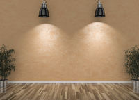 Blank wall and lamps