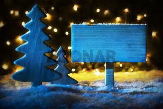 Blue Christmas Tree, Copy Space