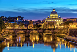 Sunset at Rome with Saint Peter's Basilica, Rome, Italy