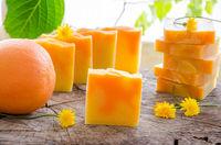 homemade orange and dandelion herbal soap