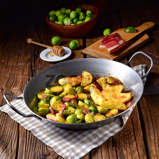 Brussels Sprouts with ham ,honey and roasted potatoes