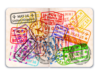 Realistic open foreign passport with many bright colorful immigration stamps on white