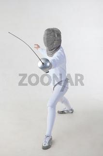 Female fencer isolated on white background