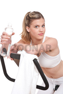Fitness series - Woman with exercise bike