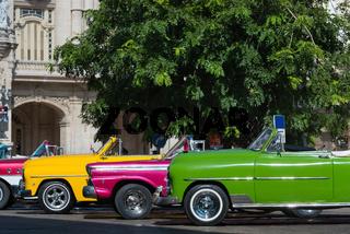 Mehrere amerikanische Cabriolet Oldtimer parken in der Altstadt von Havanna Kuba