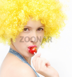 woman with sweet sugar candy