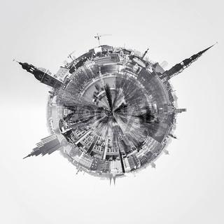 Little planet 360 degree sphere. Riga city skyline, Latvia. Black and white image