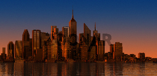 Modern cityscape at sunset time. Wide format.